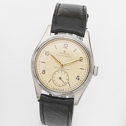 Rolex. A stainless steel manual wind wristwatchOyster Royal, Ref:4444, Case No.576692, Circa 1948