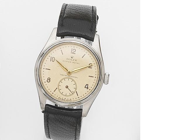 Rolex. A stainless steel manual wind wristwatch Oyster Royal, Ref:4444, Case No.576692, Circa 1948