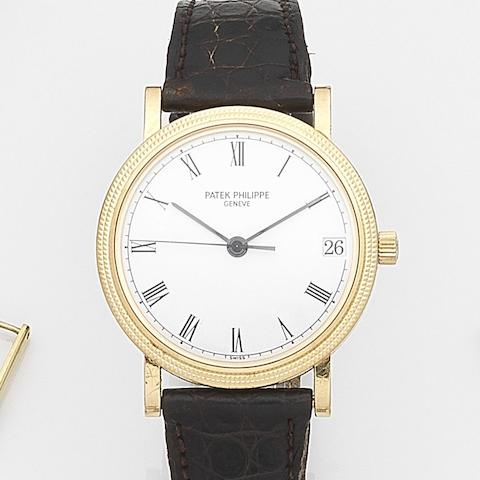 Patek Philippe. An 18ct gold automatic calendar wristwatch Calatrava, Ref:3802/200, Case No.4037264, Movement No.3007729, Circa 2005