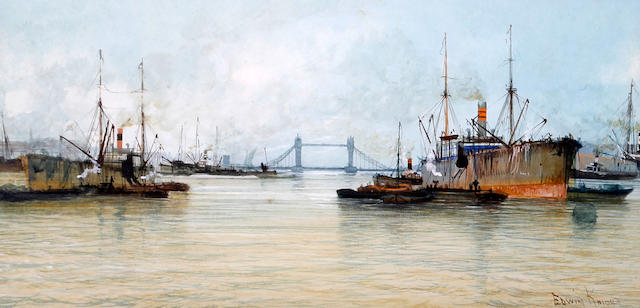 Edwin Knight (British, active circa 1900) Shipping on the Thames, a pair