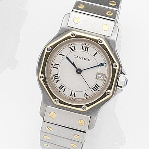 Cartier. A stainless steel and gold quartz calendar bracelet watch with box and papers Santos Ronde, Ref:2652, Case No.187902, Sold 11th August 1989