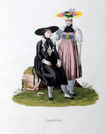 Swiss School, (early 19th century) 'Costumes Suisses', a volume of hand coloured aquatints of different costumes and livelihoods in various cantons, (approx 29)