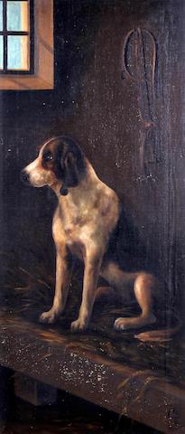 English School, (crica 1900) Foxhound in kennel