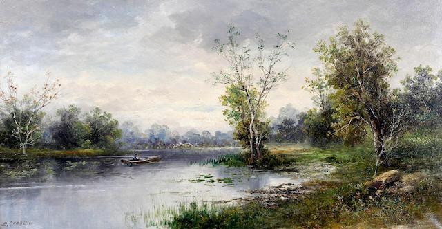 B. Lambert (British?, 19th-) 'En Bretagne', riverscene with rowboat