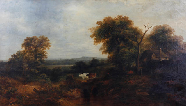 Circle of Patrick Nasmyth (Edinburgh 1787-1831 Lambeth) Wooded landscape with cattle and cottages