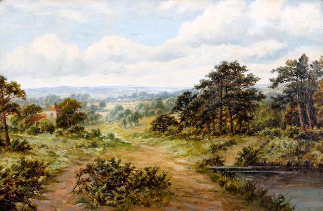 John Clayton Adams (British, 1840-1906) 'The Bridle Path', extensive landscape with town beyond, possibly Dorking