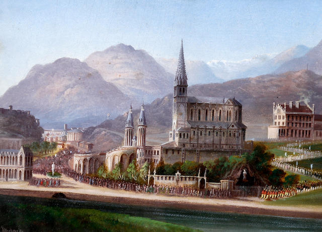 Louis Ritschard (Austrian, 1817-1904) 'March of the Pilgrims', Lourdes France