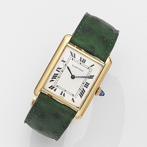 Cartier. An 18ct gold manual wind wristwatch with box and papers Tank, Case No.780862567, Sold December 1974