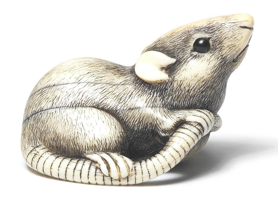 An ivory netsuke of a rat Kyoto, early 19th century