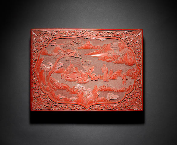 A cinnabar-red lacquer rectangular work box and cover Qing Dynasty or later