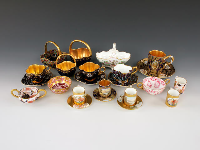 Coalport cabinet cups and saucers and miniatures