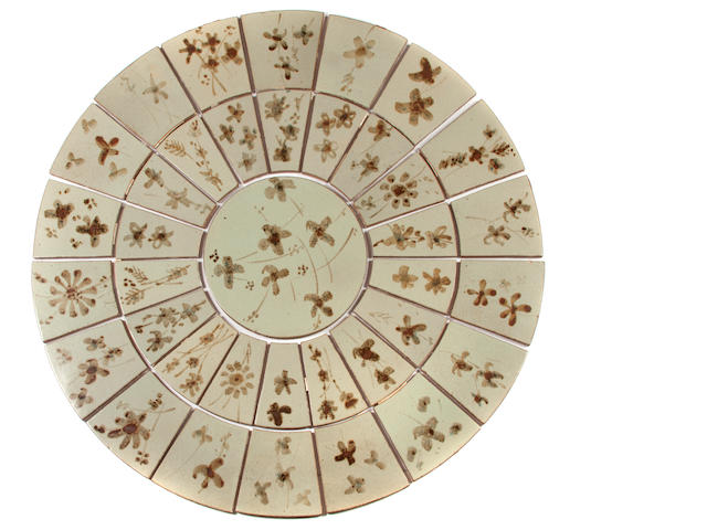 Esias Bosch (South African, 1923-2010) A collection of 37 tiles forming a table top diameter 125.5cm (49 7/16in.)