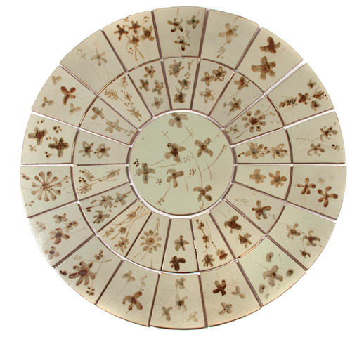 Esias Bosch (South African, 1923-2010) A collection of 37 tiles forming a table top 125.5cm (49 7/16in) diameter