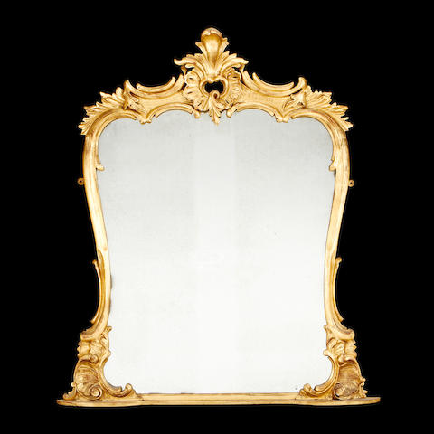 A late Victorian giltwood overmantel mirror