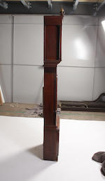 An oak and mahogany banded longcase clock