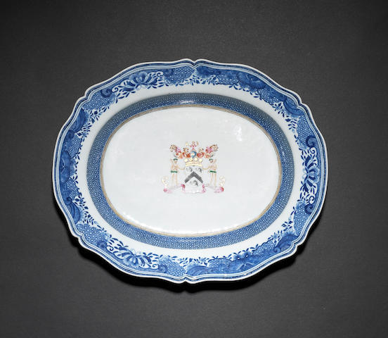An underglaze blue-decorated, armorial deep dish Qianlong