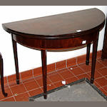 A Georgian mahogany demi-lune gate-leg tea table,