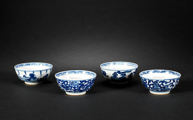 Four blue and white teabowls Kangxi six-character marks