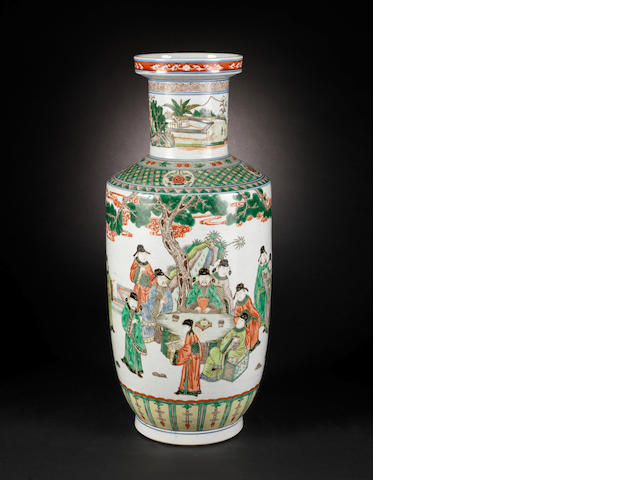 A famille verte rouleau vase Kangxi six-character mark