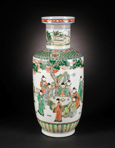 A famille verte rouleau vase Kangxi six-character mark
