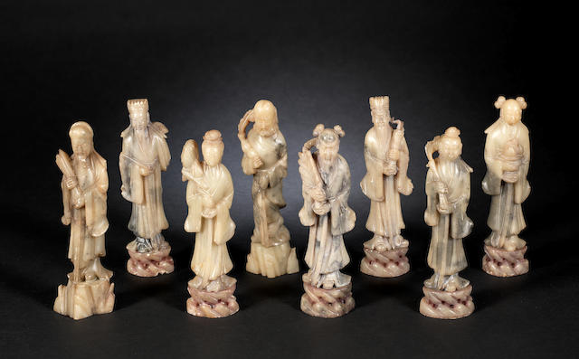 A set of soapstone carvings of the Eight Daoist Immortals
