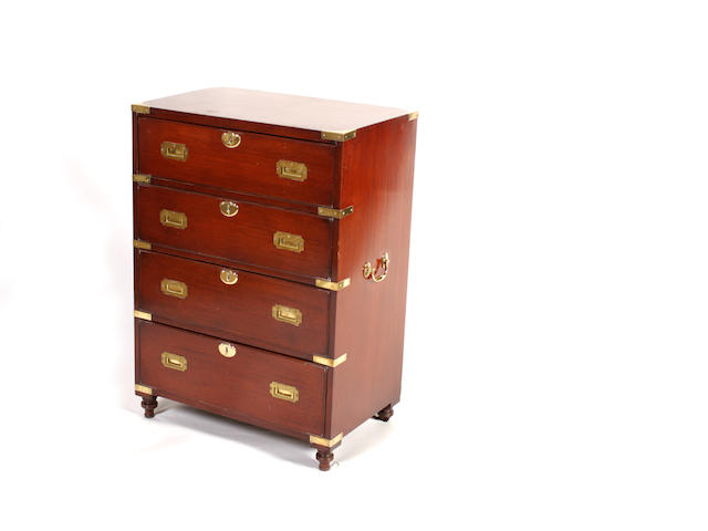 An 18th century style mahogany campaign secretaire chest Of small proportions
