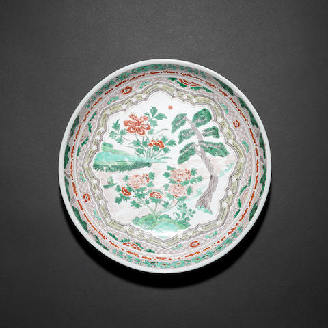 A famille verte dish Qing Dynasty