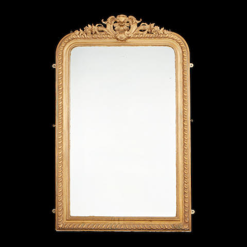 A late 19th/early 20th century giltwood overmantel mirror