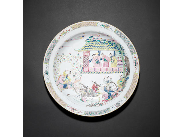 A famille rose dish 18th century