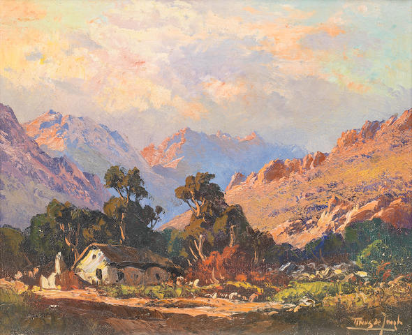 Marthinus (Tinus) Johannes de Jongh (South African, 1885-1942) Cottage in a mountain landscape