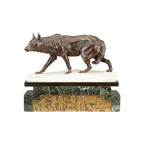 Charles Valton, French (1851-1918) A bronze and marble model of a wolf in the snow cast by Jollet & Cie, Paris
