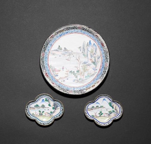 A Canton enamel circular dish 18th century