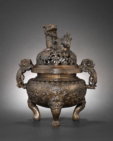A bronze incense burner and cover Ming Dynasty, ersatz Xuande six-character mark