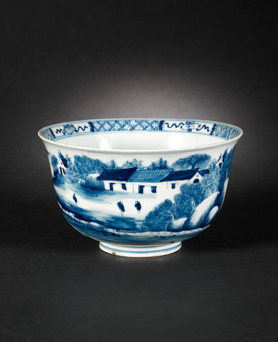 A blue and white bowl Kangxi mark