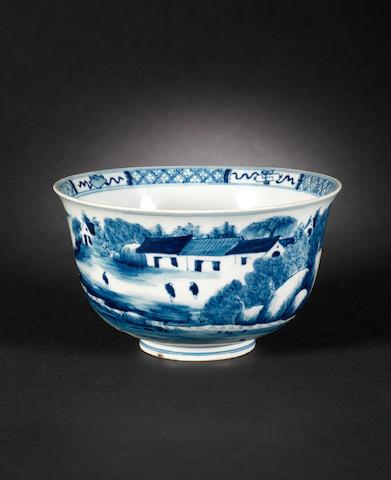 A blue and white bowl Kangxi mark