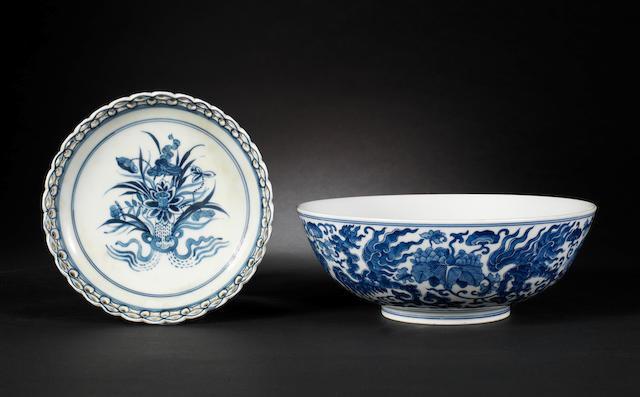 A blue and white bowl decorated with phoenix and a blue and white stand, QL mark