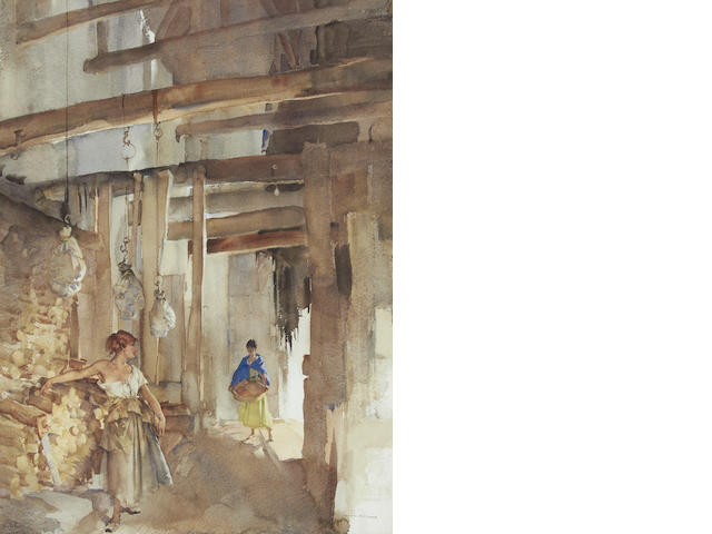 Sir William Russell Flint R.A., P.R.W.S. (British, 1880-1969) Hams and Firewood, Briare