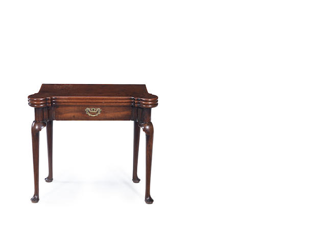 A George II triple fold card table
