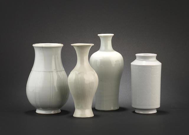Four white-glazed wares