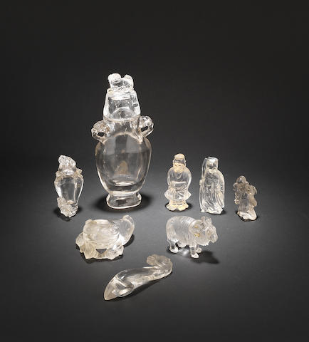 Six rock crystal, or other crystalline quartz, carvings