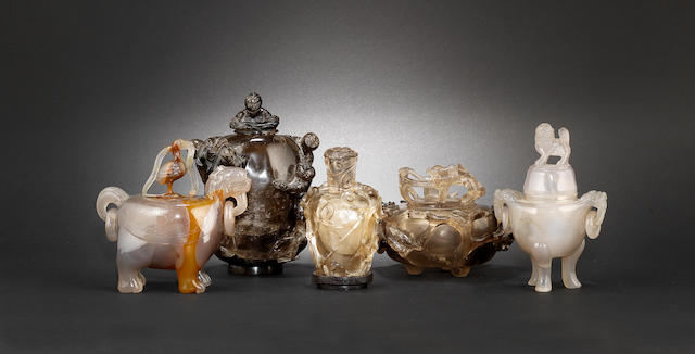 A group of five quartz and agate vessels