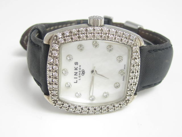 A lady's diamond-set silver wristwatch, by Links of London, Edinburgh 2002