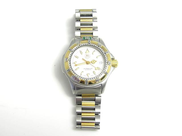 A lady's 'Professional 200m' stainless steel wristwatch, by Tag Heuer