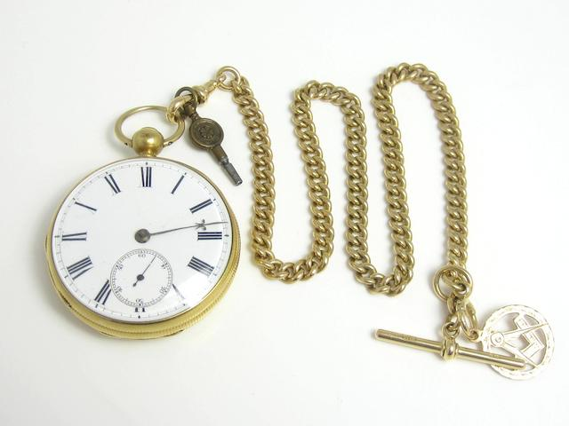 An early 19th century 18ct gold open-faced pocket watch, by James Murray, Royal Exchange