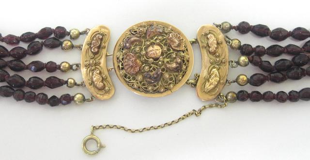 A mid - late 19th century Dutch 14ct gold and garnet necklace