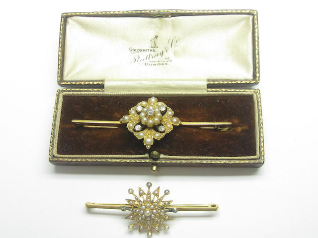 Two Victorian seed pearl brooches