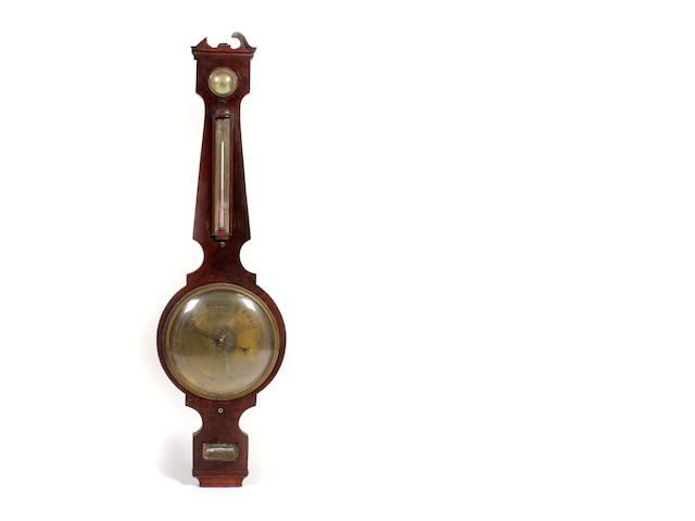 A 19th century mahogany wheel barometer engraved Zerboni & Co., Calton Street, Edinburgh