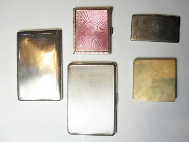 A small collection of silver and gold cases