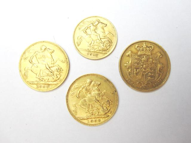 Three full sovereigns and a half sovereign One dated for 1909, 1906 and 1831, the half sovereign dated for 1912