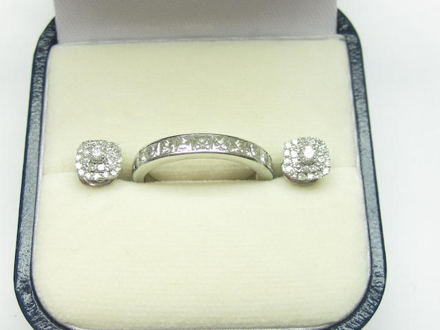 A diamond-set half eternity band and a pair of diamond ear studs